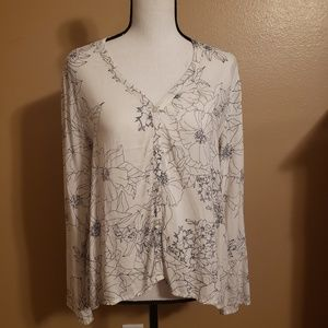 cloth & stone sheer bell sleeve top
